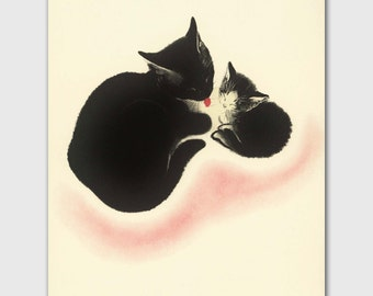 """Cat Art, Baby Nursery Print (Cat Lover Gift, Vintage Mother and Child Art) --- """"Bath Time"""""""