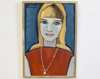 Colorblock Portrait Painting, Vintage Art, Young Woman in Blue and Red