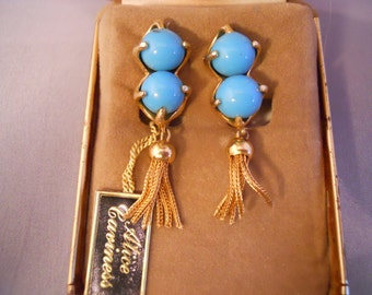 Vintage 14 KT Yellow Gold Filled Alice Caviness Turquoise Earrings