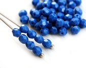 4mm Opaque Blue Czech glass beads, Medium Blue faceted round spacers, fire polished - 50Pc - 1704