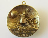 Reserved not available....Large Gold First Man on Moon Charm or pendant