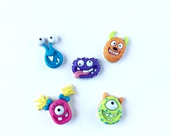 Monster Magnets, Cute Monster Magnets, One Eye Monsters, Colorful, Refrigerator, Fridge, Kitchen, Office, Decor, Push Pins, Pushpins