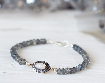 Labradorite and Moonstone Bracelet - Pave Diamond Bracelet - April Birthstone -  Labradorite Bracelet - June Birthstone - Boho Luxe Bracelet
