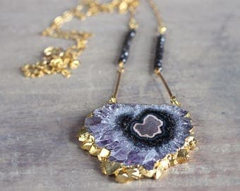 Long Amethyst Necklace - Unique Statement Necklace - Amethyst Pendant - Purple, Gold Black Spinel Necklace - Boho Luxe Jewelry Black Friday