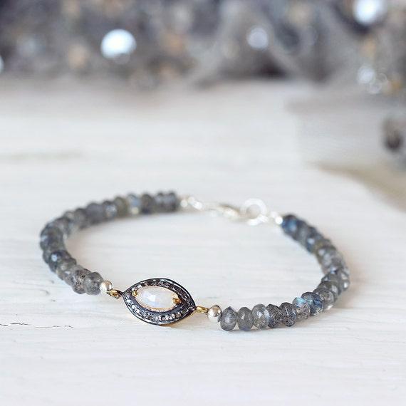 Labradorite & Moonstone Bracelet - Pave Diamond Bracelet