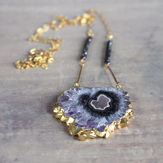 Long Amethyst Necklace - Unique Statement Necklace