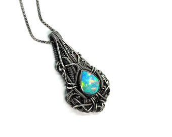Wire Wrapped Pendant / Futuristic / Opal / Sterling Silver Necklace / Artisan Jewelry / Opal Necklace / Wire Wrapping / Woven Metal /