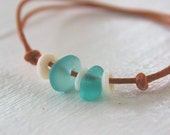 RESERVED - Hawaiian Teal Blue Beach Glass and Hawaiian Genuine Puka Shells on India Leather Cord Completely Adjustable & Stackable Bracelet