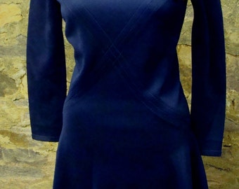 NAVY MOD fit and flare DRESS jonathan logan vintage 60's xs