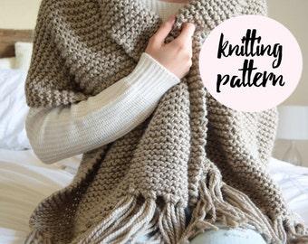 Ultimate Blanket Scarf Knitting Pattern / Chunky Thick Warm Scarf Shawl / Easy Beginner Knitting Pattern / Knitting Tutorial, PDF Download