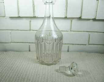 Antique Early 1800's mold blown  decanter with cut glass stopper