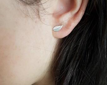 Sterling Silver Magnolia Leaf  Stud Earrings