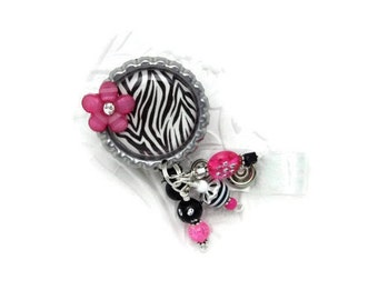 Zebra Badge Reel - Designer Badge Reels - ID Wear Jewelry - Beautiful Badge Reels - Professional ID Wear - Unique Badge Reels - ID Wear Gift