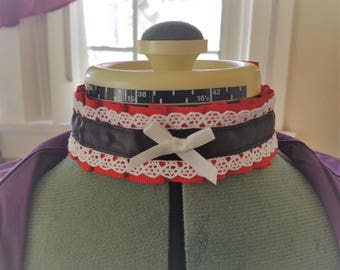 Red Goth Victorian Ribbon Choker with White Bow