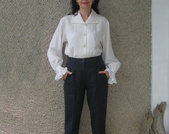 Vintage charcoal WOOL high waisted trousers, size M
