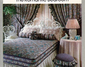 Vintage 1970s Romantic  Bedroom Decor Pattern, Theater Curtains and Tiebacks, Coverlet, Dust Ruffle, Pillow Sham, Bolster, Pillows, Ottoman