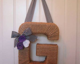 Country Monogram Wreath. Farmhouse Style Jute Letter
