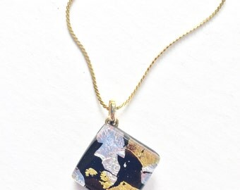 """Vintage Stamped Murano Glass Pendant Black With Silver and Gold Foil Comes With 15"""" Gold Tone Chain"""