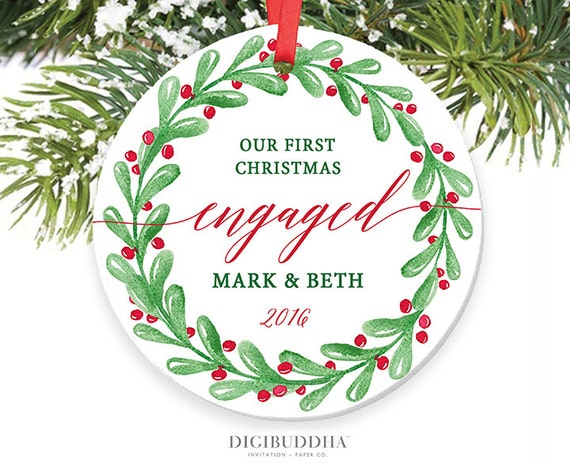 Wedding Gift Ornaments: First Christmas Engaged Ornament Wreath Engagement