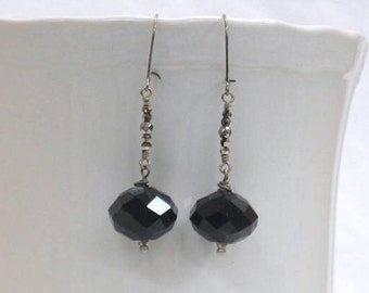 Tiny Swarovski crystals with large black crystal with earrings