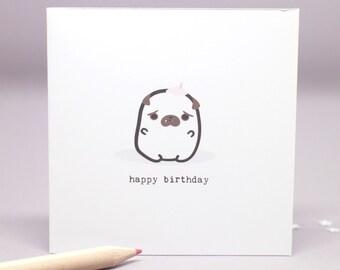 birthday pug card - small happy birthday card