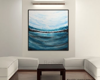 Landscape painting original large abstract painting 36x36 blue ocean waves square abstract oil painting seascape modern art by L.Beiboer