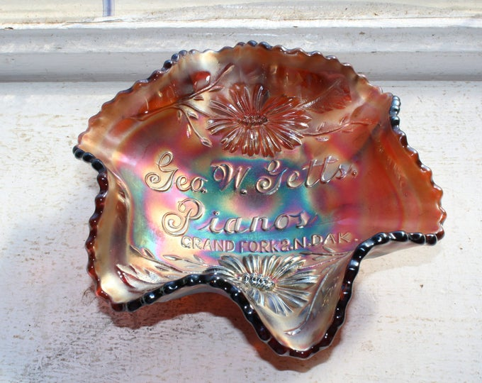 Carnival Glass Geo W Getts Pianos Ruffled Bowl 1910s Grand Forks ND