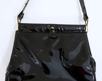 60's Mod Glossy Ink Black Patent Vinyl Handbag Hinge Opening High Shine Jet Purse Shoulder Bag