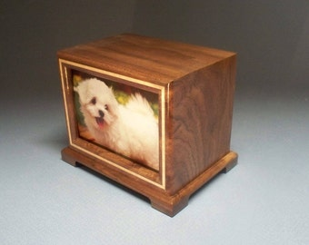 Free Shipping In The USA, Walnut Pet Urn 51 c.i., Wooden Pet Urn, Urn for Pet, Photo Urn with Lacquer Finish, Made in the USA