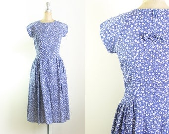 Vintage 1980s 1940s Style Blue Floral Dress Blue 40s Dress Floral 40s Dress Medium Blue Dress Blue Midi Dress Floral Midi Dress Size