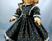 1860s Civil War Era Dress - 18 Inch Doll Clothing - Fits American Girl - Maple Leaves on Navy