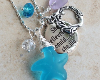 She Believed she could so she did Charm Necklace, Blue sea glass starfish, Mermaid, Swarovski Crystals, Lavender, Beach Jewelry Inarajewels
