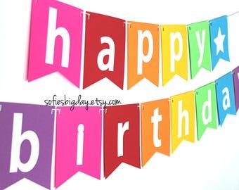 Rainbow Happy Birthday Banner-ready 2 ship birthday banner-rainbow birthday banner-birthday banner-rainbow birthday party, photo backdrop