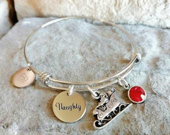 Christmas Bracelet - Santa Charm Bracelet - Naughty Bracelet - Christmas Jewelry - Christmas Accessory - Santa Jewelry - Naughty Jewelry