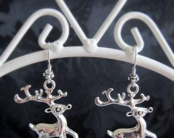 Metal deer antler earrings