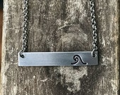 Wave Bar Necklace / Hand Stamped Necklace / Bar Necklace / Nautical Bar Necklace /