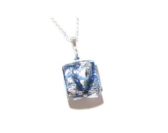 Murano Glass Blue Silver Square Pendant Necklace, Lampwork Glass Jewelry, Italian Glass Jewelry