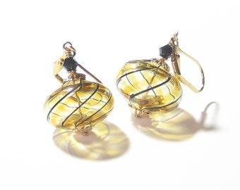 Murano Mouth Blown Glass Topaz Black Gold Earrings, For Her, Venetian Earrings, Italian Jewelry, Leverback Earrings, Hollow Glass Earrings