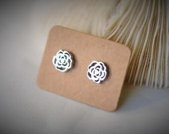 Stainless Steel Earring, ROSE Stud Earring  ~  8 mm - Women / Casual / Hipster