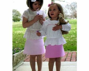 Ainsley Pattern / Girls Over Blouse Pattern /  A-line Skirt Pattern / Button Back / Children's Corner  265