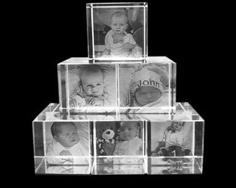 6 cube 3-D picture laser etched photo