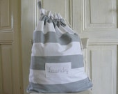 Laundry bag, Laundry big tote, dirty clothes bag, thick cotton, gray grey stripes