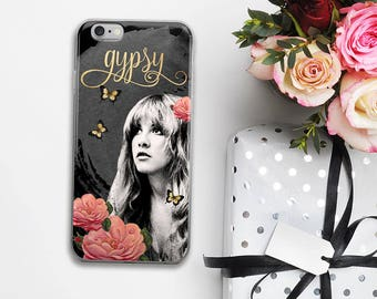 STEVIE Nicks Gypsy Black iPhone 7 Case, iPhone 7 Plus Case, Boho Floral Gold Calligraphy, Gifts for Her, iPhone 6s case, iPhone 6 plus 5 SE