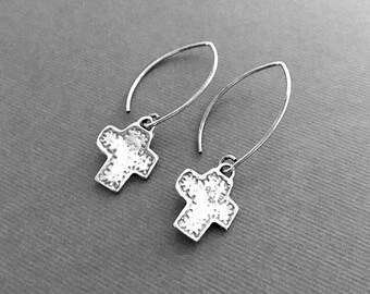 Sterling Silver Cross Earrings, Artisan Made Earrings, Everyday Wear, Gifts for Her, Jewelry Sale, Under 50