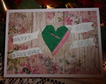 Happy Birthday card, Greeting card, Handmade card, Mixed media card, Vintage quilt heart, Music note card, Green, Pink,  ArtFromTheCabin