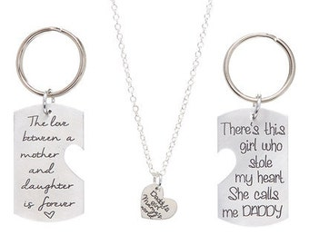 Daddy/Mommy/Daughter Set - Mother and Daughter Love - Daddy's Girl Mama's World - Personalized Jewelry - Hand Stamped Jewelry - Gift For Mom