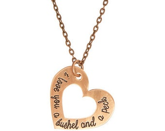 I Love You A Bushel And A Peck - Copper Custom Heart Name Necklace - Hand Stamped Jewelry - Personalized Jewelry - Engraved Jewelry