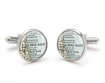 Map Cufflinks - Vintage Map Cufflinks of Chicago Illinois - Custom Vintage Map Jewelry Gifts for Men