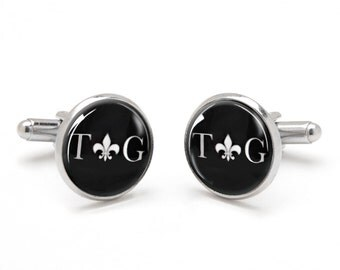 Monogrammed Cufflinks with Fleur de Lis Symbol - Custom Cufflinks - Best Gift for Groomsmen - Wedding Attire for Men