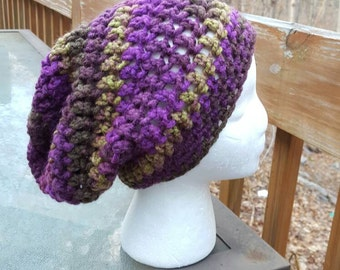Chunky Slouchy Beanie in Eggplant - Ready to Ship